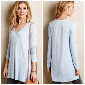 anthro pure + good | blue long form vneck tee
